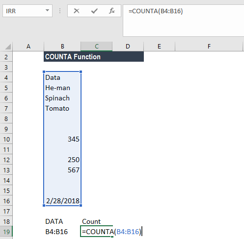 COUNTA Function - Example 2b