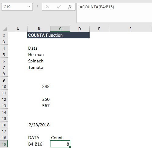 COUNTA Function - Example 2c