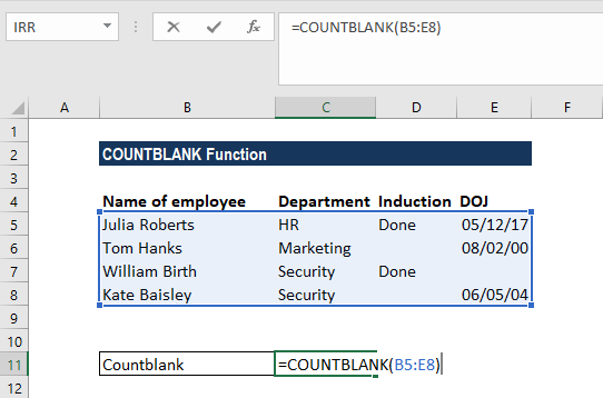 COUNTBLANK Function - Example 1
