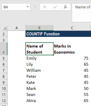 COUNTIF Function - Example 2