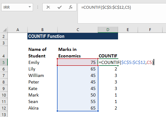 COUNTIF Function - Example 2a
