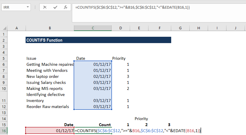 COUNTIFS Function - Example 2b
