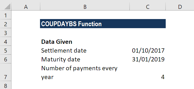 COUPDAYBS Function
