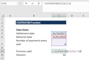 COUPDAYBS Function - Example 1