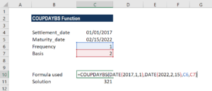 COUPDAYBS Function - Example 2a