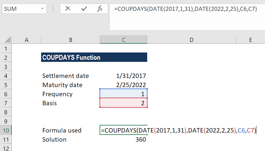 COUPDAYS Function - Example 2a