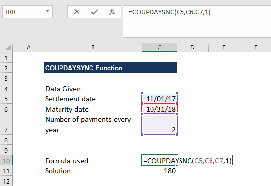 COUPDAYSNC Function - Example 1
