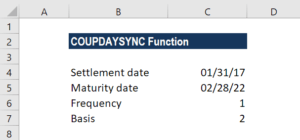 COUPDAYSNC Function - Example 2