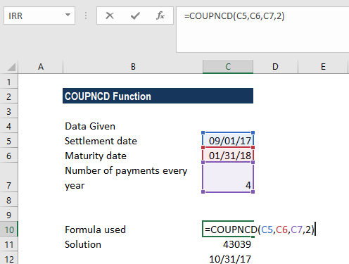 COUPDNCD Function - Example 1