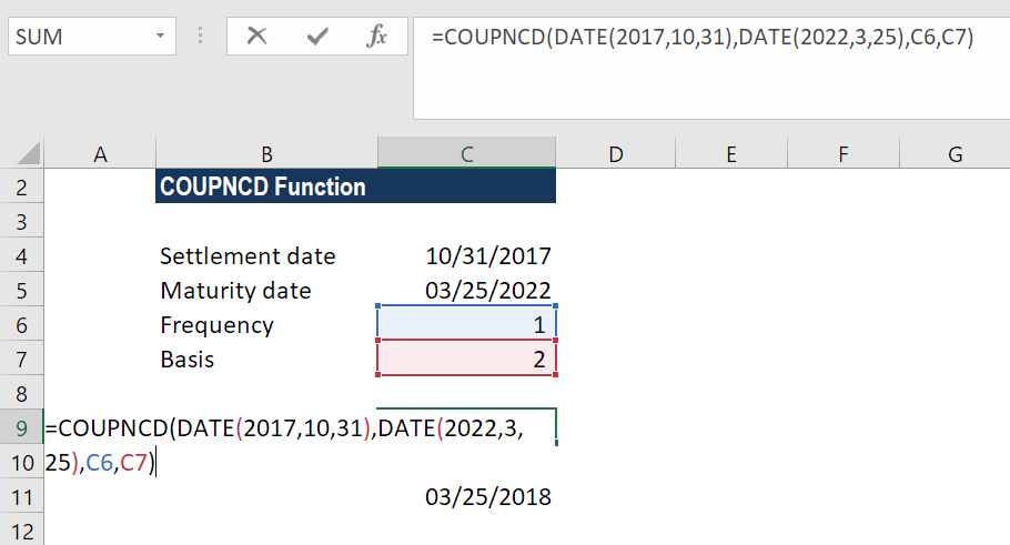 COUPDNCD Function - Example 2a