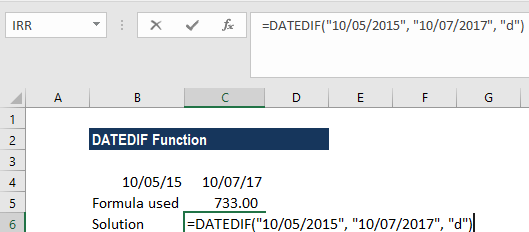 DATEDIF Function