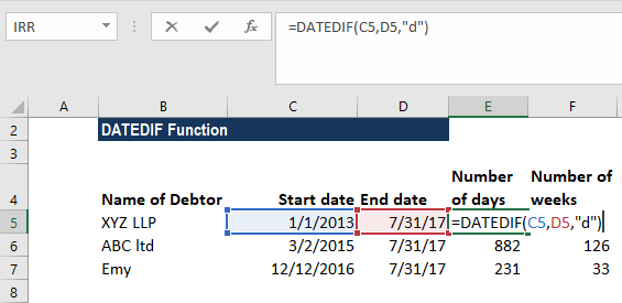 DATEDIF Function - Example 2