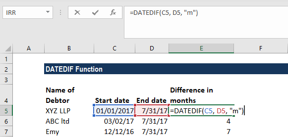 DATEDIF Function - Example 3a