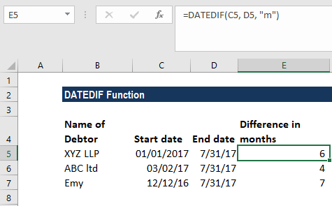 DATEDIF Function - Example 3b