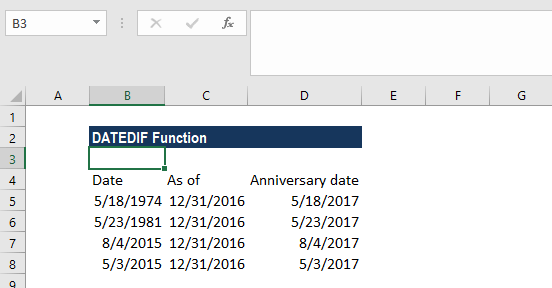 DATEDIF Function - Example 4