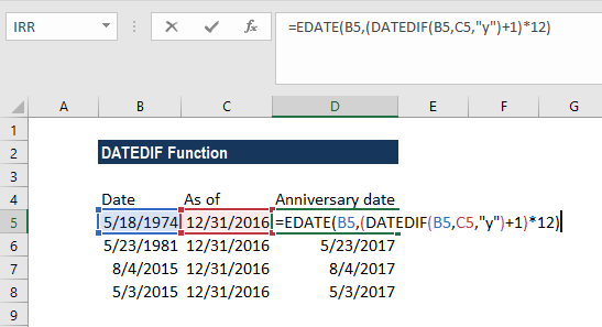 DATEDIF Function - Example 4a