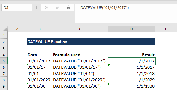 DATEVALUE Function - Example 1c