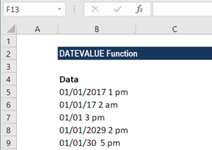 DATEVALUE Function - Example 2