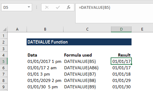 DATEVALUE Function - Example 2a