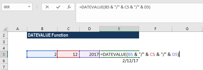 DATEVALUE Function - Example 3a