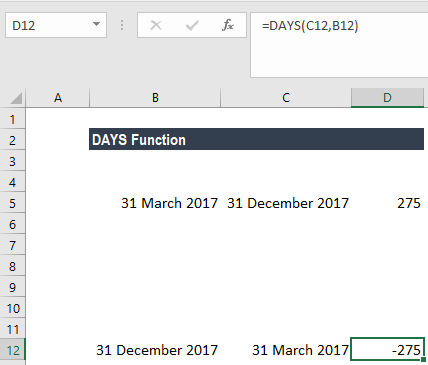 DAYS Function - Example 1