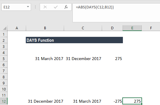 DAYS Function - Example 1b