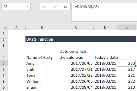 DAYS Function - Example 2c