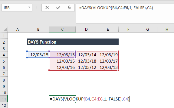 DAYS Function - Example 3a