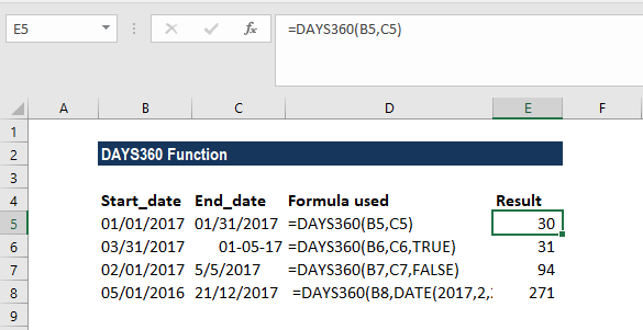 DAYS360 Function - Example 1