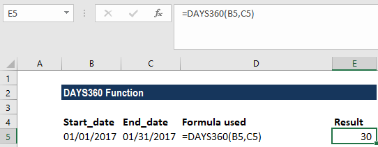 DAYS360 Function - Example 1a