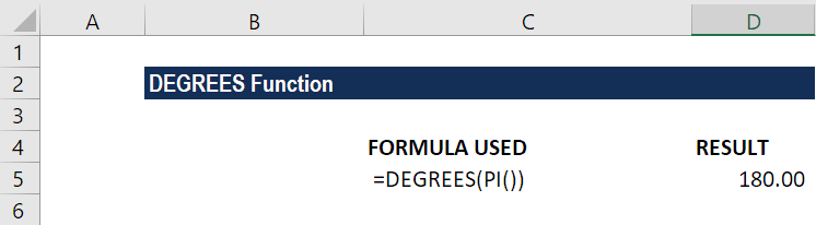 DEGREES Function - Example