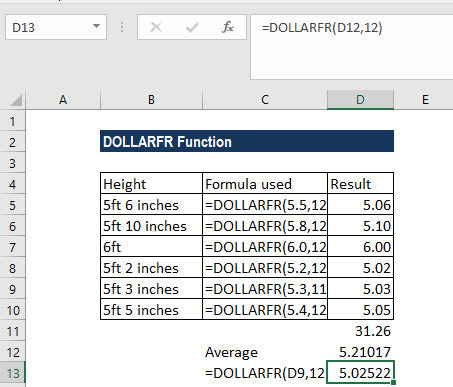 DOLLARFR Function - Example 2a