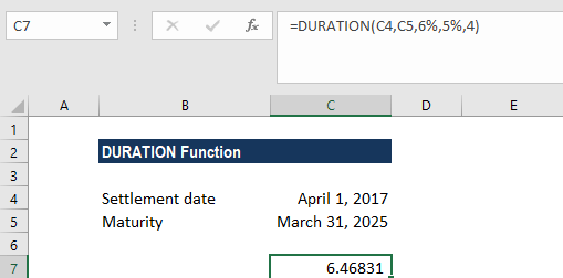 DURATION Function - Example