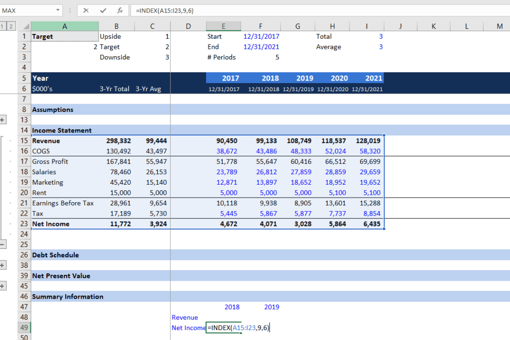 INDEX Function - Dynamic Financial Statement Analysis