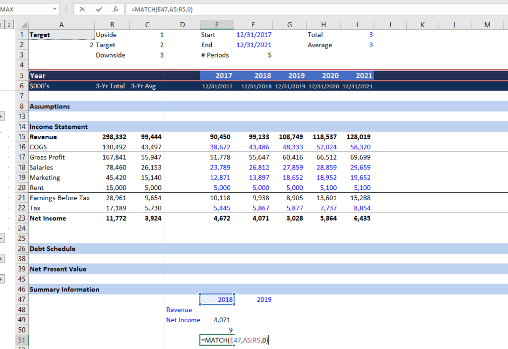 MATCH Function - Dynamic Financial Analysis