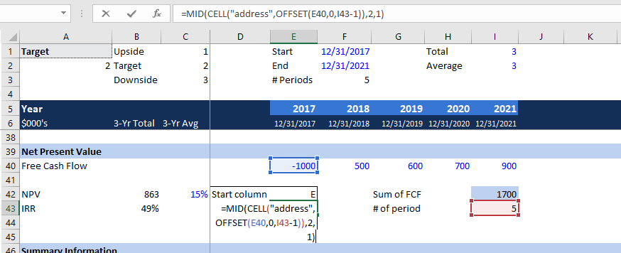 MID/CELL/OFFSET Functions