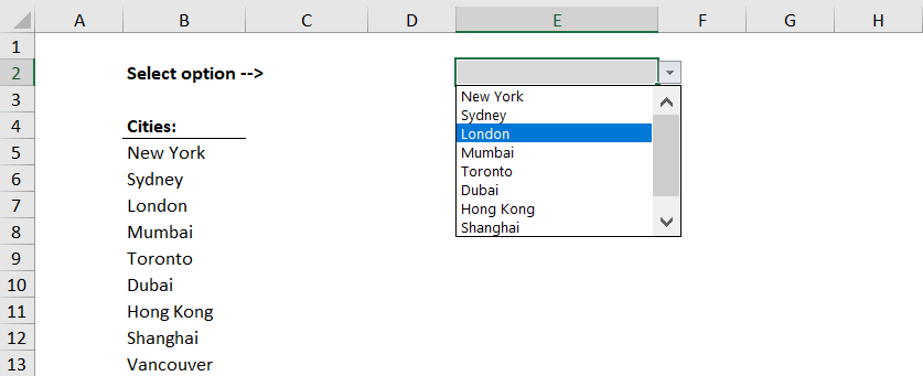 Excel Drop Down List Example