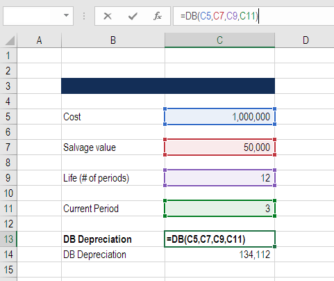DB function in Excel for finance professionals