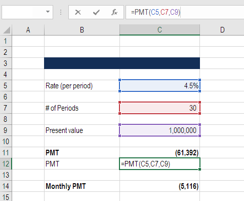 pmt excel for finance