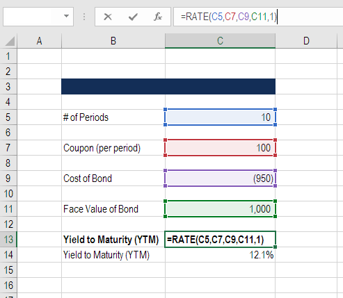 yield to maturity function in excel