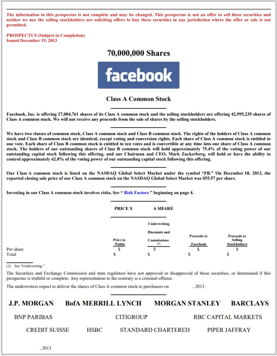 Cover Page of Facebook's Prospectus