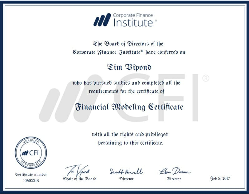 Accounting and finance course certificate