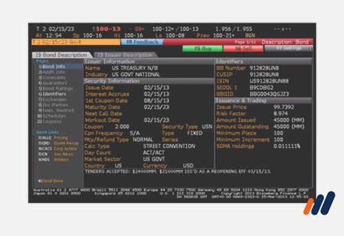 financial analyst program -Bloomberg terminal screen with information on a fixed income security