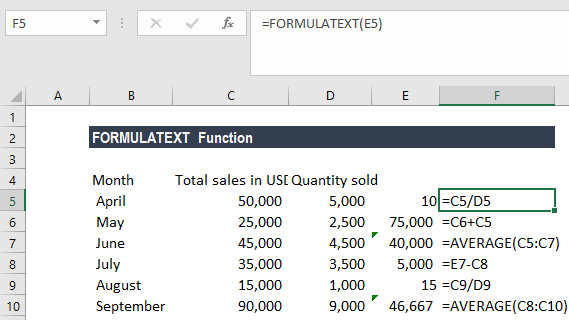FORMULATEXT Function - Example 1