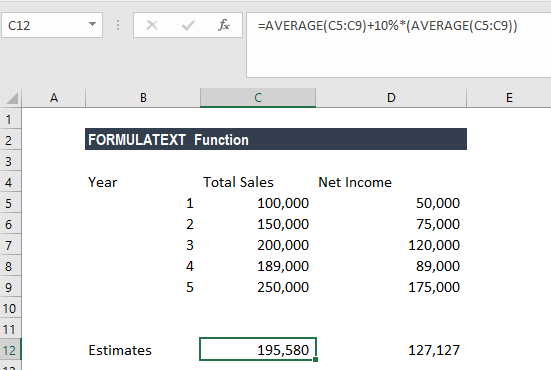 FORMULATEXT Function - Example 1a