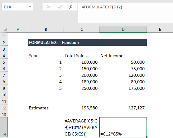 FORMULATEXT Function - Example 1b