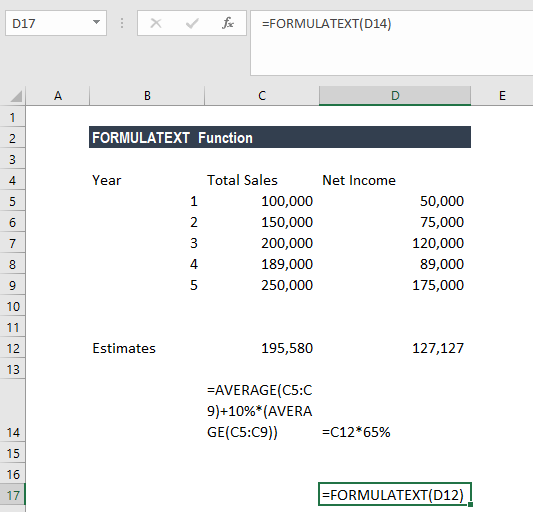 FORMULATEXT Function - Example 2