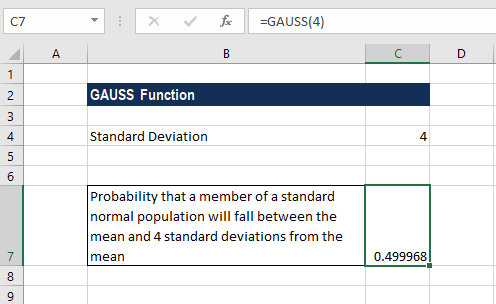 GAUSS Function - Example