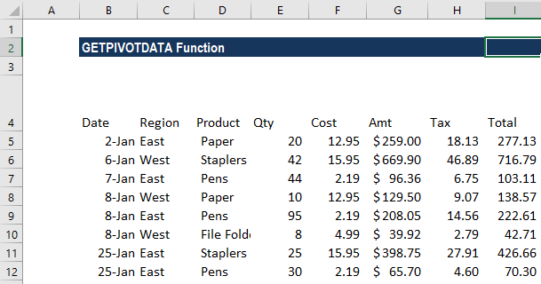 GETPIVOTDATA Function - Example 2