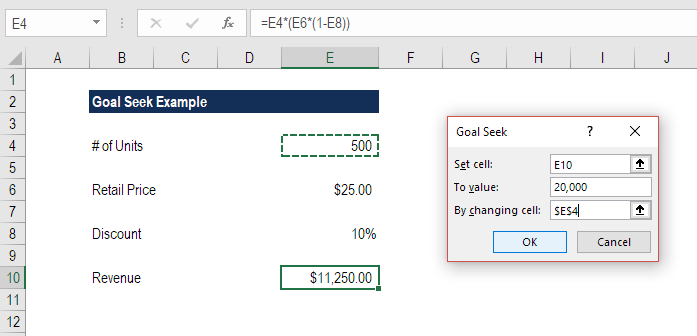 Goal Seek Excel example and steps